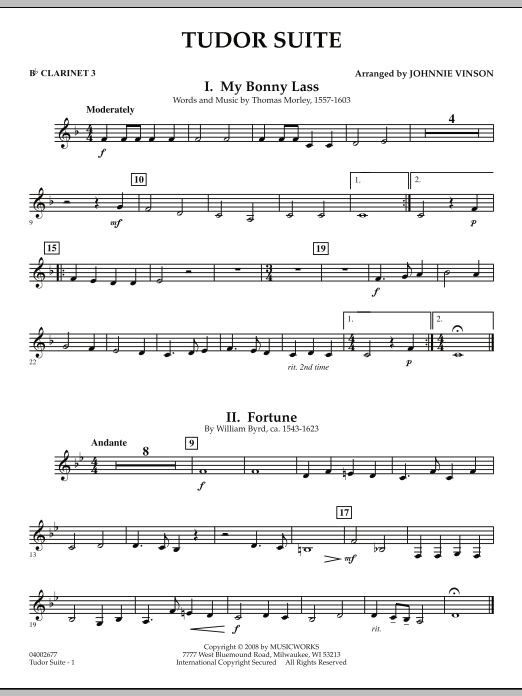 Tudor Suite - Bb Clarinet 3 (Concert Band)
