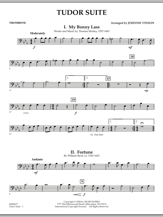 Tudor Suite - Trombone (Concert Band)