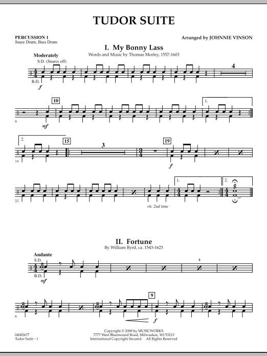 Tudor Suite - Percussion 1 (Concert Band)