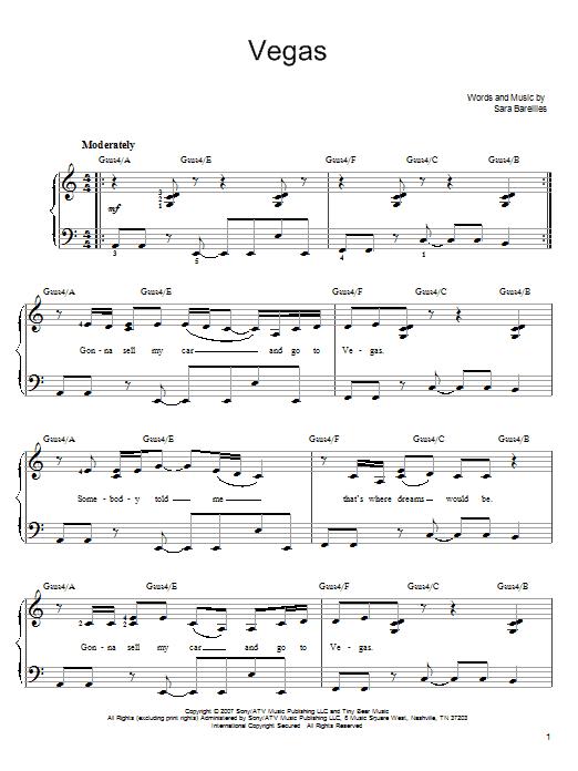 Partition piano Vegas de Sara Bareilles - Piano Facile