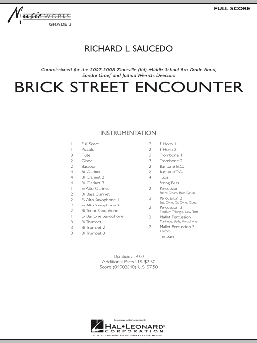 Brick Street Encounter (COMPLETE) sheet music for concert band by Richard L. Saucedo. Score Image Preview.