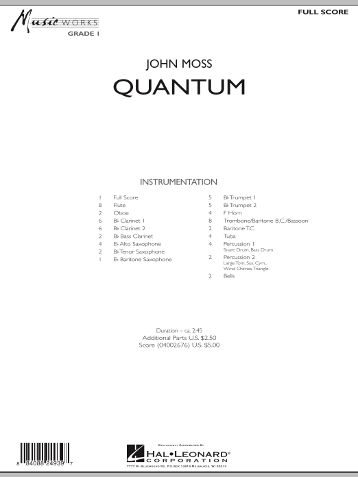 Quantum (COMPLETE) sheet music for concert band by John Moss. Score Image Preview.