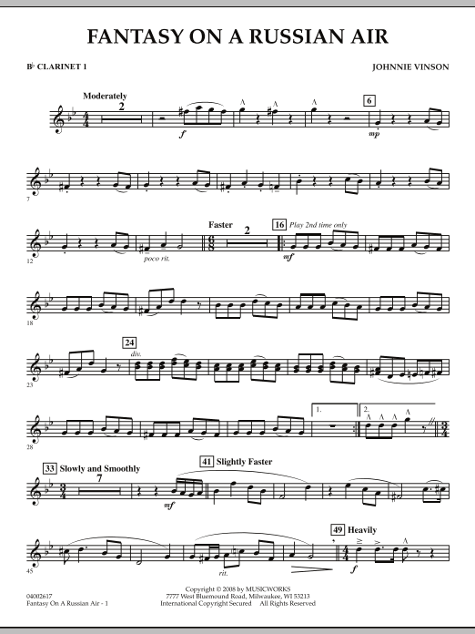 Fantasy on a Russian Air - Bb Clarinet 1 (Concert Band)