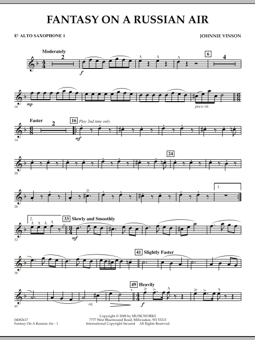 Fantasy on a Russian Air - Eb Alto Saxophone 1 (Concert Band)