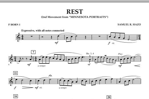 "Rest (Mvt. 2 of ""Minnesota Portraits"") - F Horn 1 (Concert Band)"