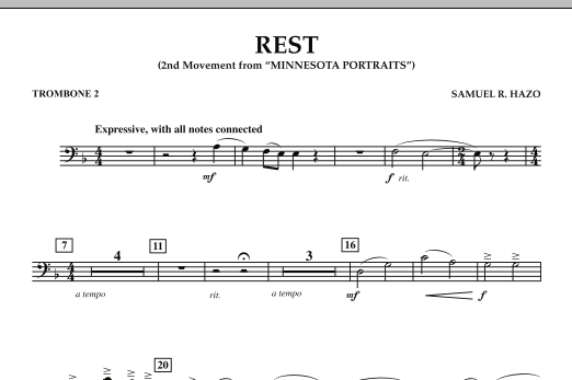 "Rest (Mvt. 2 of ""Minnesota Portraits"") - Trombone 2 (Concert Band)"