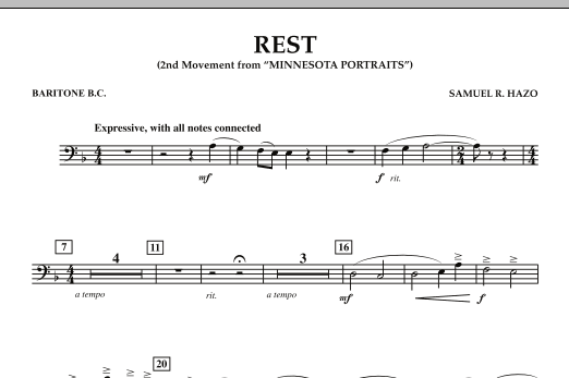"""Rest (Mvt. 2 of """"Minnesota Portraits"""") - Baritone B.C. (Concert Band)"""