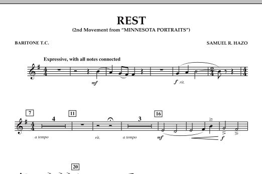 """Rest (Mvt. 2 of """"Minnesota Portraits"""") - Baritone T.C. (Concert Band)"""