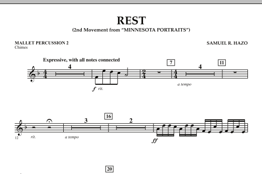 "Rest (Mvt. 2 of ""Minnesota Portraits"") - Mallet Percussion 2 (Concert Band)"
