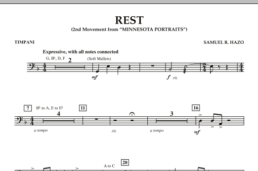 "Rest (Mvt. 2 of ""Minnesota Portraits"") - Timpani (Concert Band)"