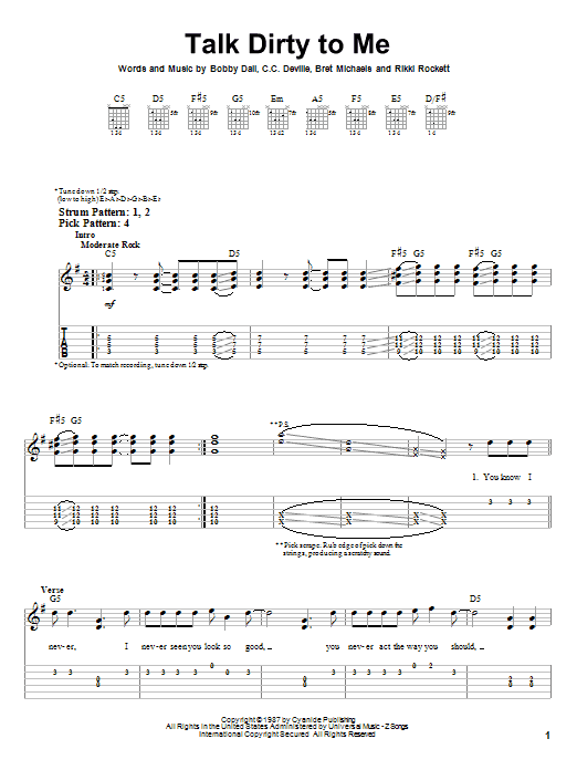 Talk Dirty To Me (Easy Guitar Tab)