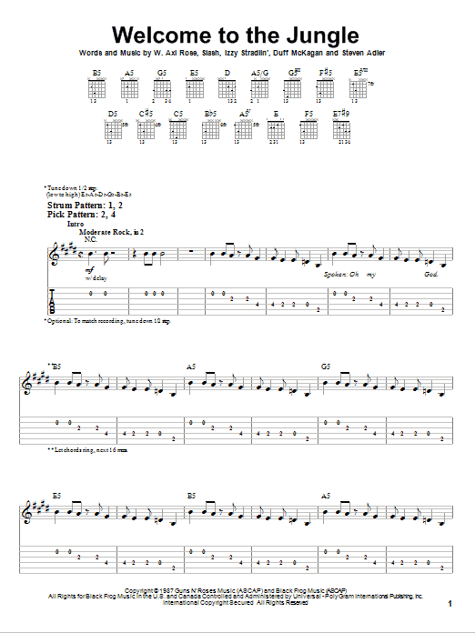 Tablature guitare Welcome To The Jungle de Guns N' Roses ...
