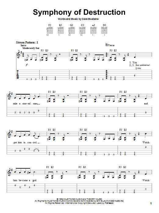 Symphony Of Destruction Sheet Music