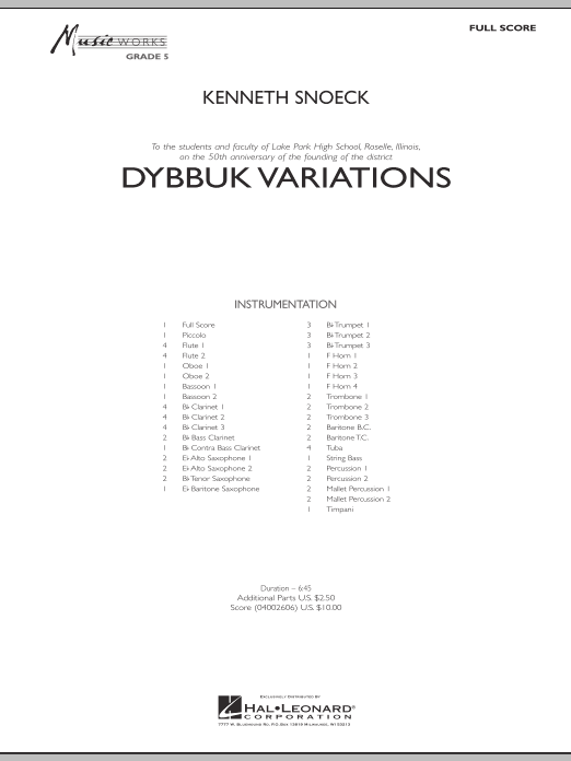 Dybbuk Variations (COMPLETE) sheet music for concert band by Kenneth Snoeck. Score Image Preview.