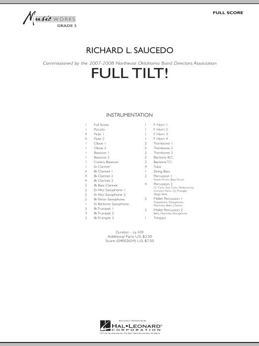 Full Tilt (COMPLETE) sheet music for concert band by Richard L. Saucedo. Score Image Preview.
