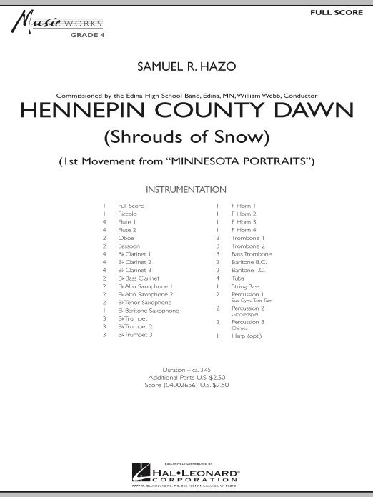 Hennepin County Dawn (Mvt. 1 of Minnesota Portraits) (COMPLETE) sheet music for concert band by Samuel R. Hazo. Score Image Preview.
