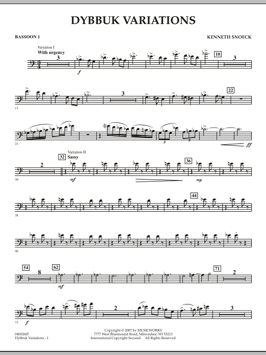 Dybbuk Variations - Bassoon 1 (Concert Band)