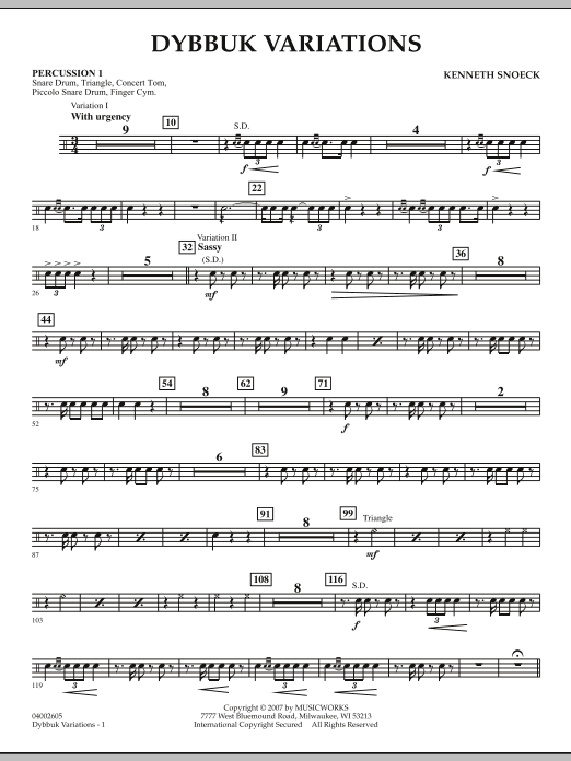 Dybbuk Variations - Percussion 1 (Concert Band)