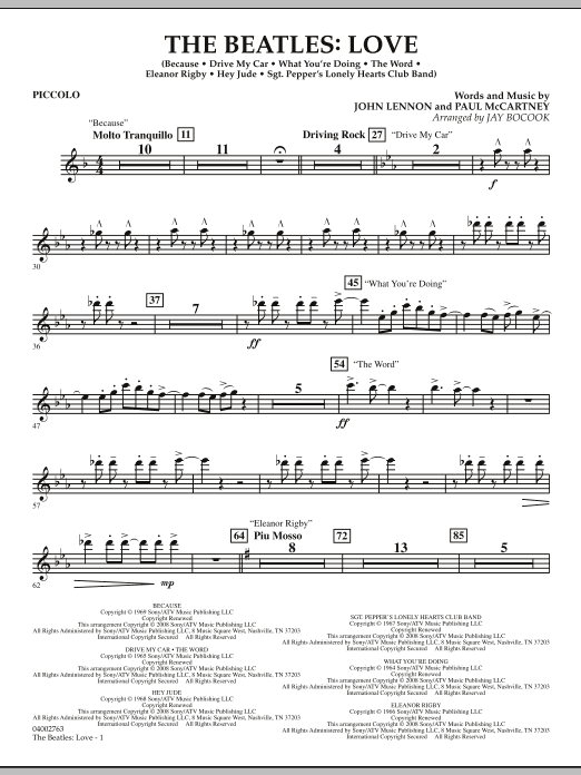 The Beatles: Love - Piccolo (Concert Band)