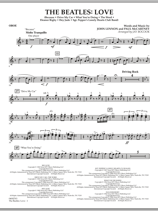 The Beatles: Love - Oboe (Concert Band)