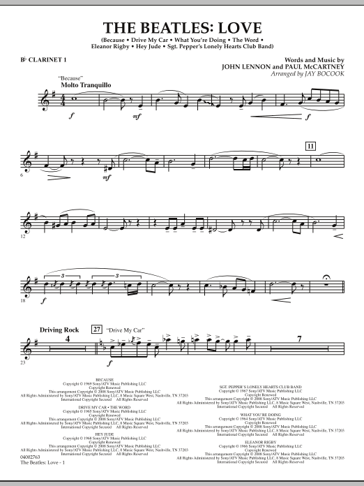 The Beatles: Love - Bb Clarinet 1 (Concert Band)