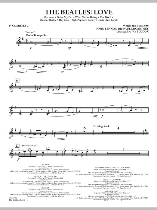 The Beatles: Love - Bb Clarinet 2 (Concert Band)