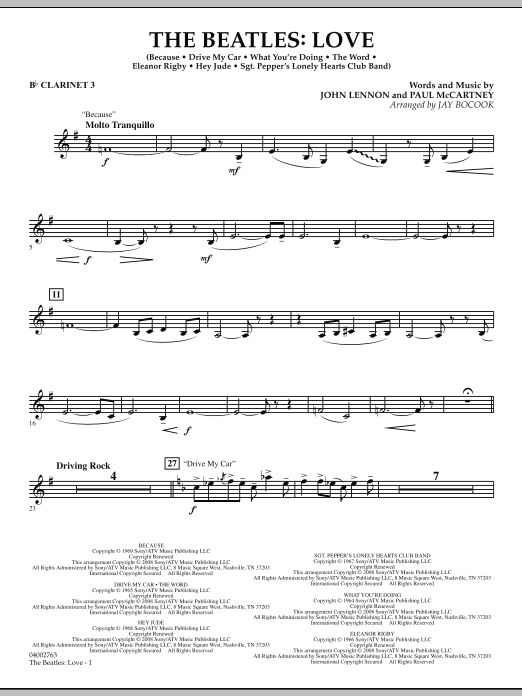 The Beatles: Love - Bb Clarinet 3 (Concert Band)
