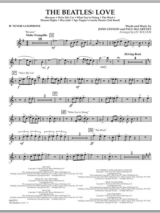 The Beatles: Love - Bb Tenor Saxophone (Concert Band)