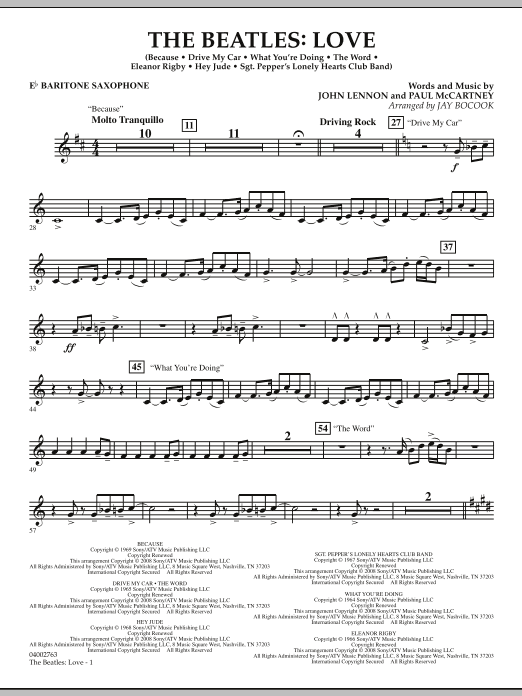 The Beatles: Love - Eb Baritone Saxophone (Concert Band)