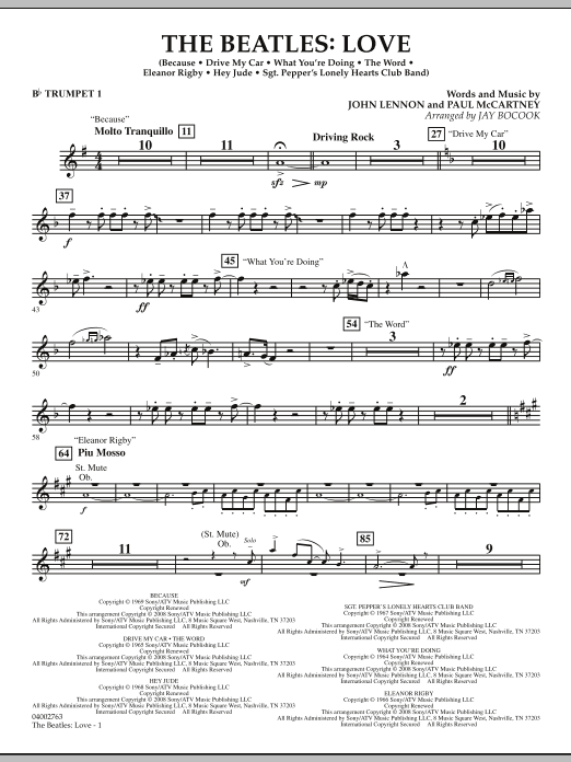 The Beatles: Love - Bb Trumpet 1 (Concert Band)