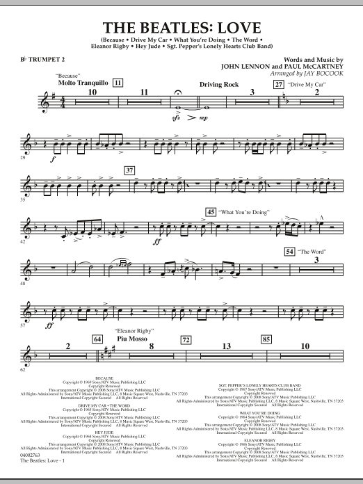 The Beatles: Love - Bb Trumpet 2 (Concert Band)