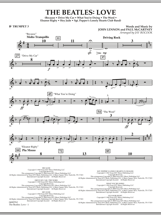 The Beatles: Love - Bb Trumpet 3 (Concert Band)