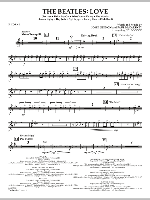 The Beatles: Love - F Horn 1 (Concert Band)