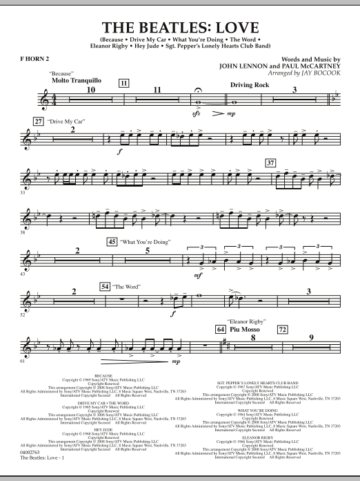 The Beatles: Love - F Horn 2 (Concert Band)