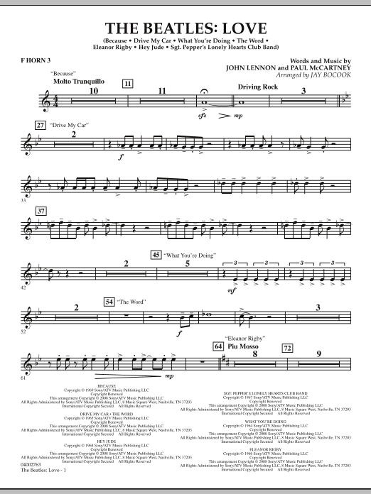 The Beatles: Love - F Horn 3 (Concert Band)