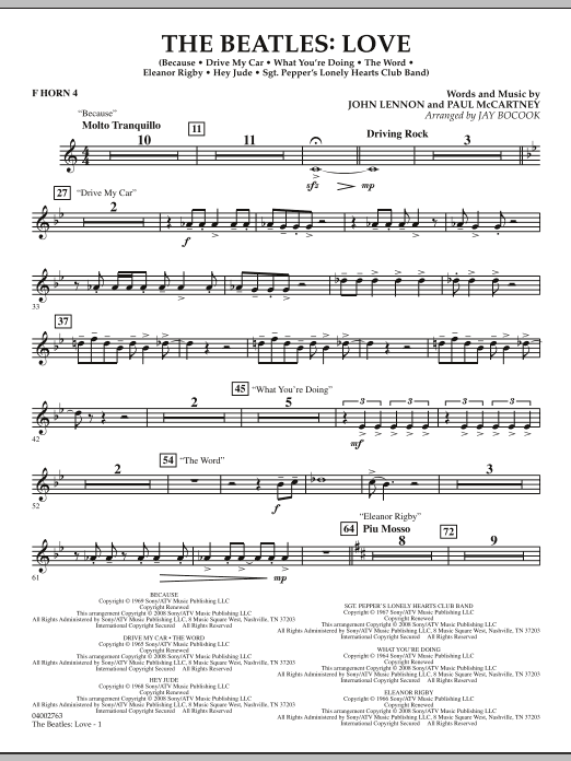 The Beatles: Love - F Horn 4 (Concert Band)