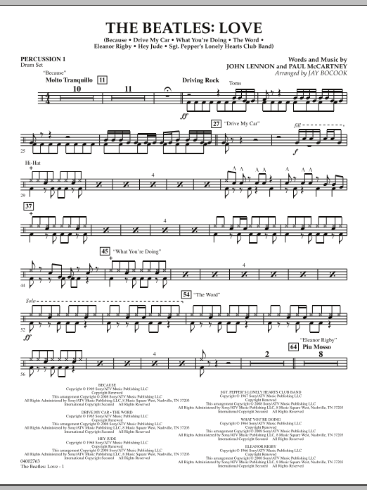The Beatles: Love - Percussion 1 (Concert Band)
