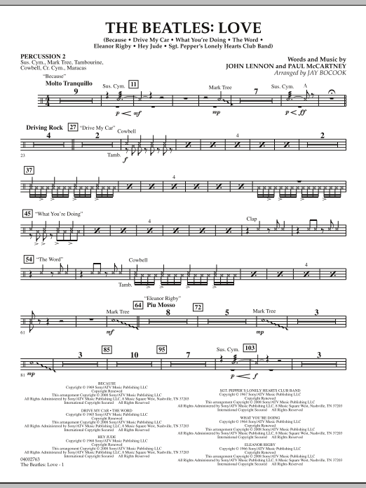 The Beatles: Love - Percussion 2 (Concert Band)