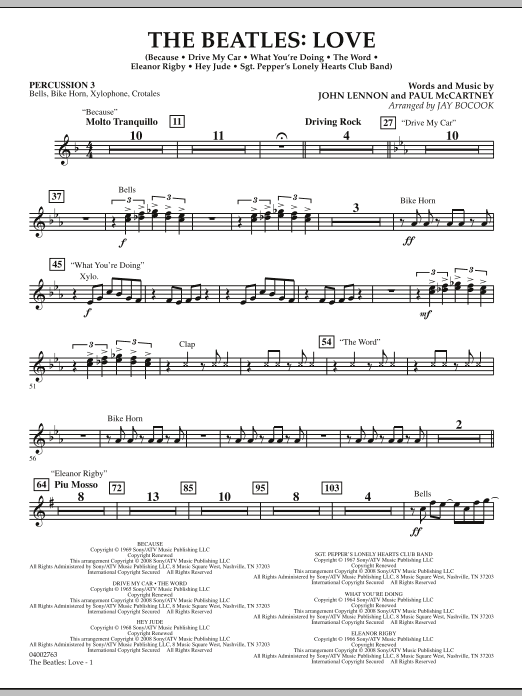 The Beatles: Love - Percussion 3 (Concert Band)