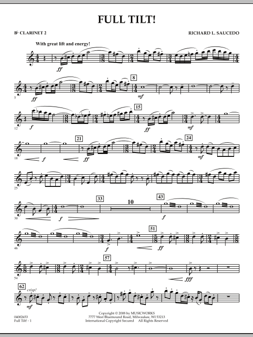 Full Tilt - Bb Clarinet 2 (Concert Band)