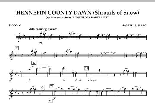 Hennepin County Dawn (Mvt. 1 of Minnesota Portraits) - Piccolo (Concert Band)