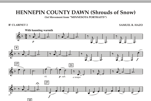 Hennepin County Dawn (Mvt. 1 of Minnesota Portraits) - Bb Clarinet 2 (Concert Band)