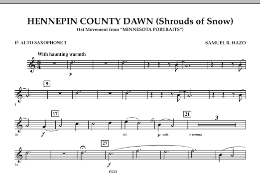 Hennepin County Dawn (Mvt. 1 of Minnesota Portraits) - Eb Alto Saxophone 2 (Concert Band)