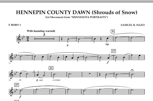Hennepin County Dawn (Mvt. 1 of Minnesota Portraits) - F Horn 1 (Concert Band)