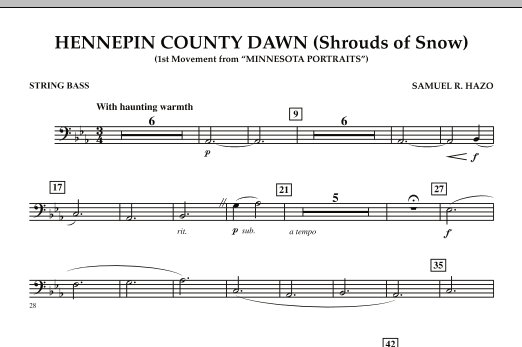 Hennepin County Dawn (Mvt. 1 of Minnesota Portraits) - String Bass (Concert Band)