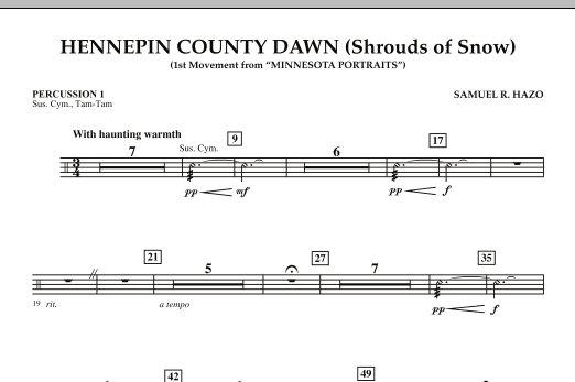 Hennepin County Dawn (Mvt. 1 of Minnesota Portraits) - Percussion 1 (Concert Band)