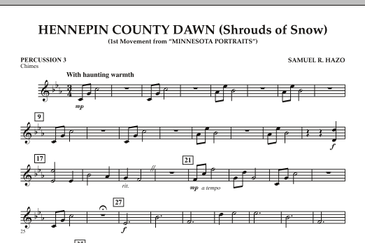 Hennepin County Dawn (Mvt. 1 of Minnesota Portraits) - Percussion 3 (Concert Band)