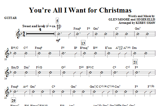 You're All I Want for Christmas (complete set of parts) sheet music for orchestra/band (Rhythm) by Glen Moore and Kirby Shaw. Score Image Preview.