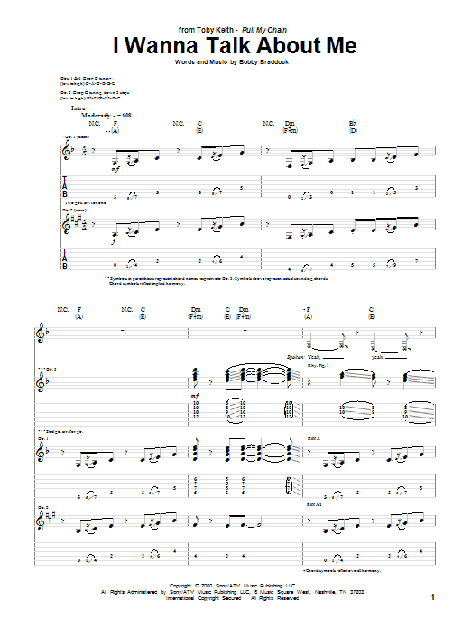 Tablature guitare I Wanna Talk About Me de Toby Keith - Tablature Guitare