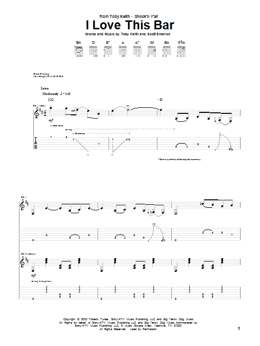 Tablature guitare I Love This Bar de Toby Keith - Tablature Guitare